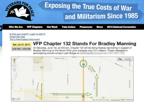 VFP 132 Freeway Blog for Bradley Manning, June 1 at 3pm