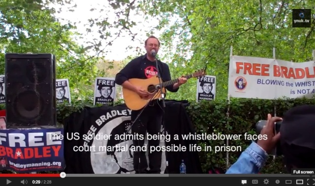 Bradley Manning support rally in London, UK (YouTube video)