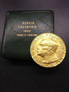 Dr. Linus Pauling's Nobel Peace Prize awarded in 1962 for his anti-nuclear war efforts.