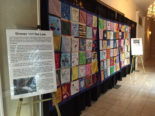 Drones Quilt Project on display just outside main plenary hall.